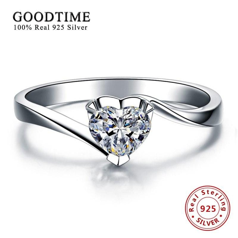 Romantic Heart Zirconia Wedding Ring for Women Soild 925 Sterling Silver Engagement Jewelry Ring Love Gift Anillo Bague GTR002