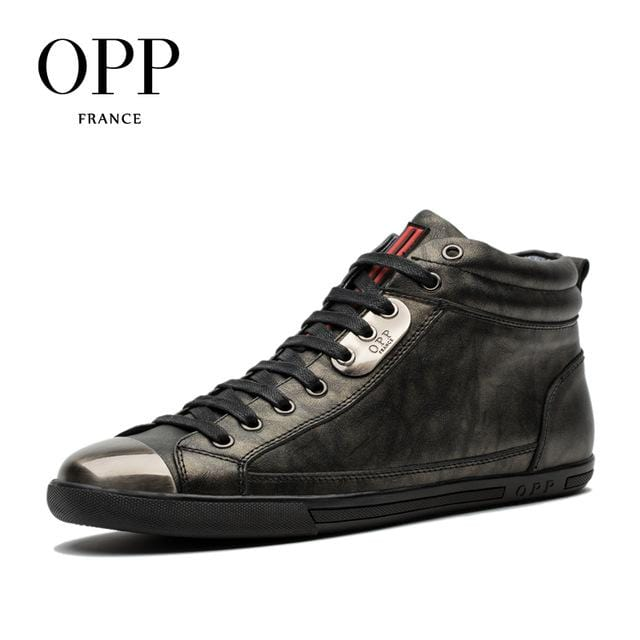 OPP Men Boots Genuine Leather High-top Casual Shoes Fashion Style  Leather Shoes Ankle Boots