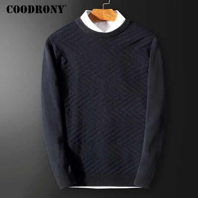 COODRONY Men Sweater Top Quality Merino Wool Sweaters Man Thick Warm Knitted Cashmere Pullover Men Casual O-Neck Pull Homme 7338 - EM