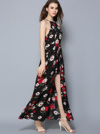 Backless Asym Pleated Floral Women's Maxi Dress - EM