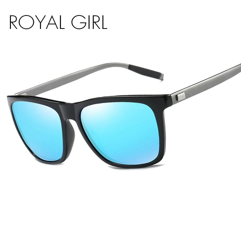 ROYAL GIRL Brand Classic Polarized Sunglasses Men Driving Square Black Frame Eyewear Male Sun Glasses For Men Oculos Gafas ms005 - EM