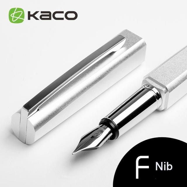 KACO SQUARE Series Luxury Blue and Silver Clip Fountain Pen with 0.5mm Nib Nobel Metal Aluminum Ink Pens with Original Gift Case