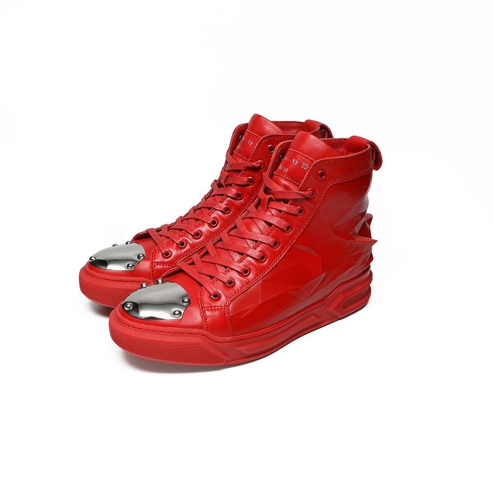 3D Printing Men Casual Shoes High-top Real Leather Lace-up Original Brand Cool Comfortable Fashion Sport Autumn Winter Red Shoes