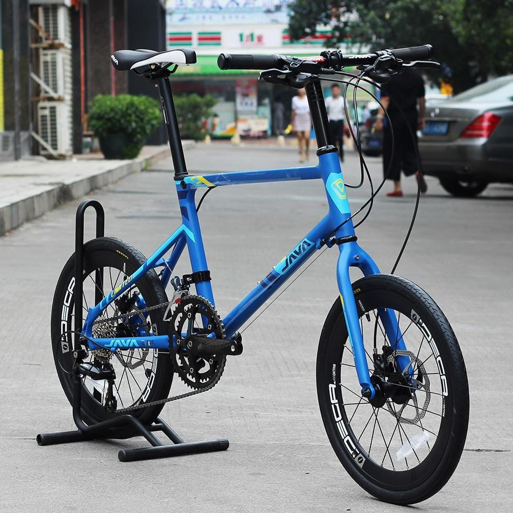 "JAVA LIMIITED CL 20"" Minivelo Bike Hydraulic Disc Brake Uniex High Quality Urban 406 City Mini velo Bicycle 18 Speed Blue"