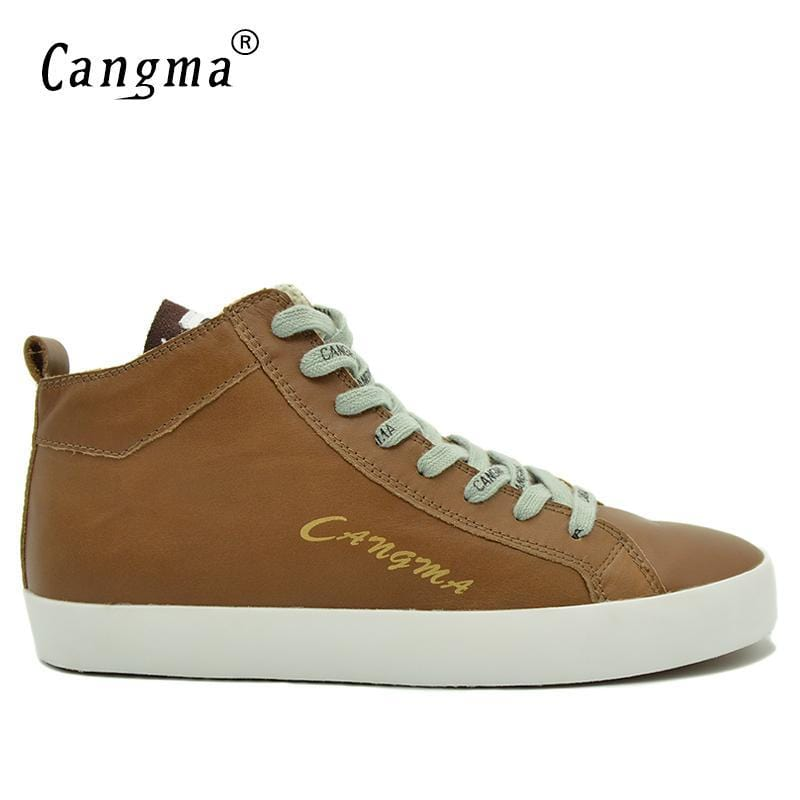CANGMA Luxury Designer Shoes Men Sneakers Brown Casual Shoes Mid Male Genuine Leather Autumn Man's Breathable Newest Footwear