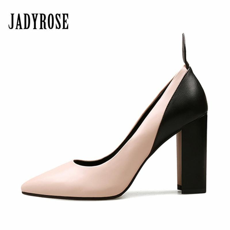 Jady Rose 2018 New Design Women Pumps Genuine Leather 9CM Chunky High Heels Prom Wedding Shoes Woman Stiletto Valentine Shoes