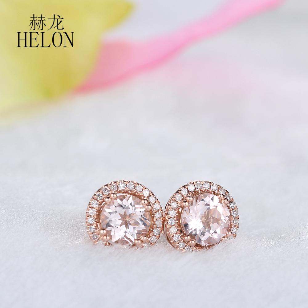 HELON Real Morganite 6mm Round Solid 10k Rose Gold Women Jewelry Delicate Diamond Earrings Halo Engagement Party Jewelry Earring - EM