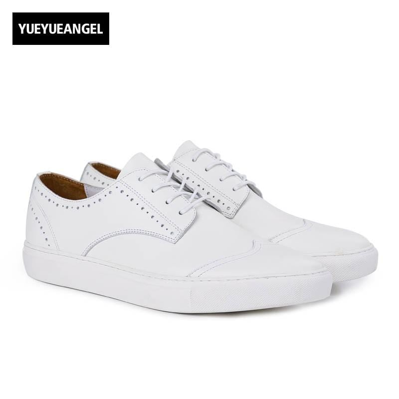 Fashion Mens Breathable White Genuine Leather Shoes Classic Brogue Wing Tip Casual Shoes Comfort Lace Up Round Toe Man Footwear