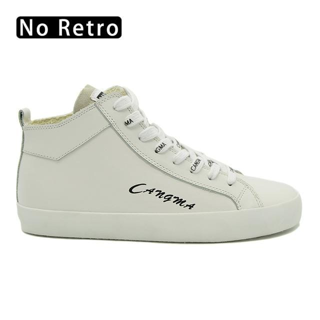 CANGMA Italy Luxury Genuine Leather Sneakers Men Handmade White Shoes Mid Lace Up Designer Man's Vintage Adult Casual Shoes Male