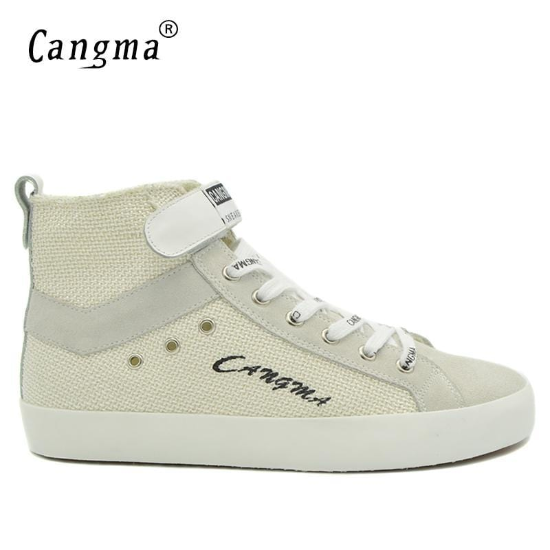 CANGMA Original Luxury Casual Shoes Vintage Man Boots Men's White Sneakers Handmade Shoes Male Lace Up Ankle Boots Hemp Schoenen