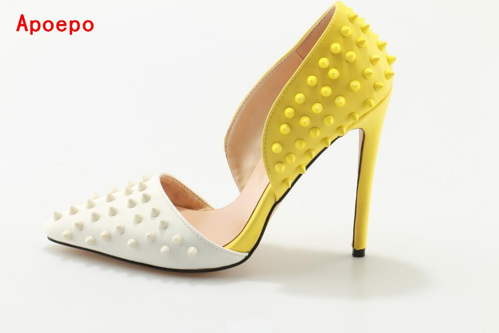 Mixed Color White Yellow Studded High Heel Pumps Pointed Toe Cut-out Women Dress Shoes Spiked Chaussure Femme Talon Women Shoes