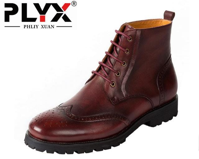PHLIY XUAN  Retro British Style Men Boots Genuine Leather Handmade Tactical Boots Military Officers Winter Boots For Men