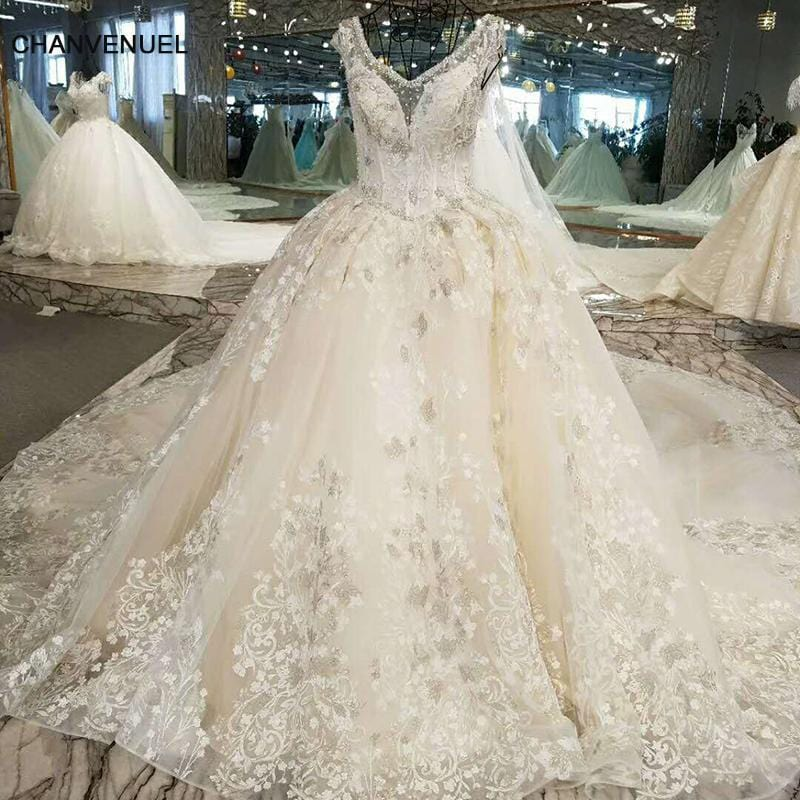 LSS005 Luxury light champagne wedding dress with silver lace beading ball gown lace up lace bridal wedding gowns real photos