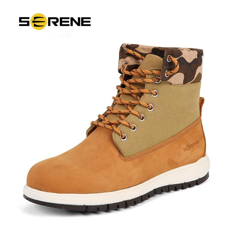 SERENE Brand Mens Short Boots Casual Canvas Leather Stitch Work Boots Camouflage Tooling Boots Lace Up Ankle Boots Shoes 3228