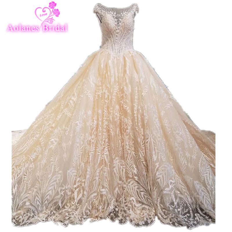 Champange and Lace Prom Evening Dresses Tulle Ball Gown Crystals Beading Appliques Pearls Real Photo Prom Dresses Long