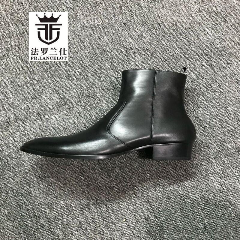 FR.LANCELOT New Men real leather boots European men chelsea boot pointed toe men zip up boots party shoes med heel mujer botas