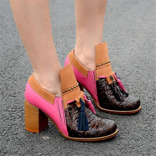 Jady Rose Patchwork Women Chunky High Heels Fringed Genuine Leather Slip On Ankle Boots Women Platform Pumps Valentine Shoes
