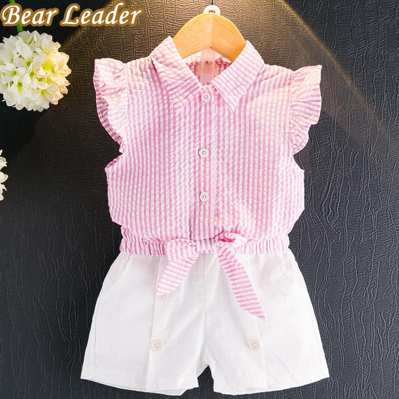 Bear Leader Girls Clothing Sets New Summer Kids Clothes Sleeveless Striped T-shirt+White Short Pants 2Pcs Suits For 3-7 Years - EM
