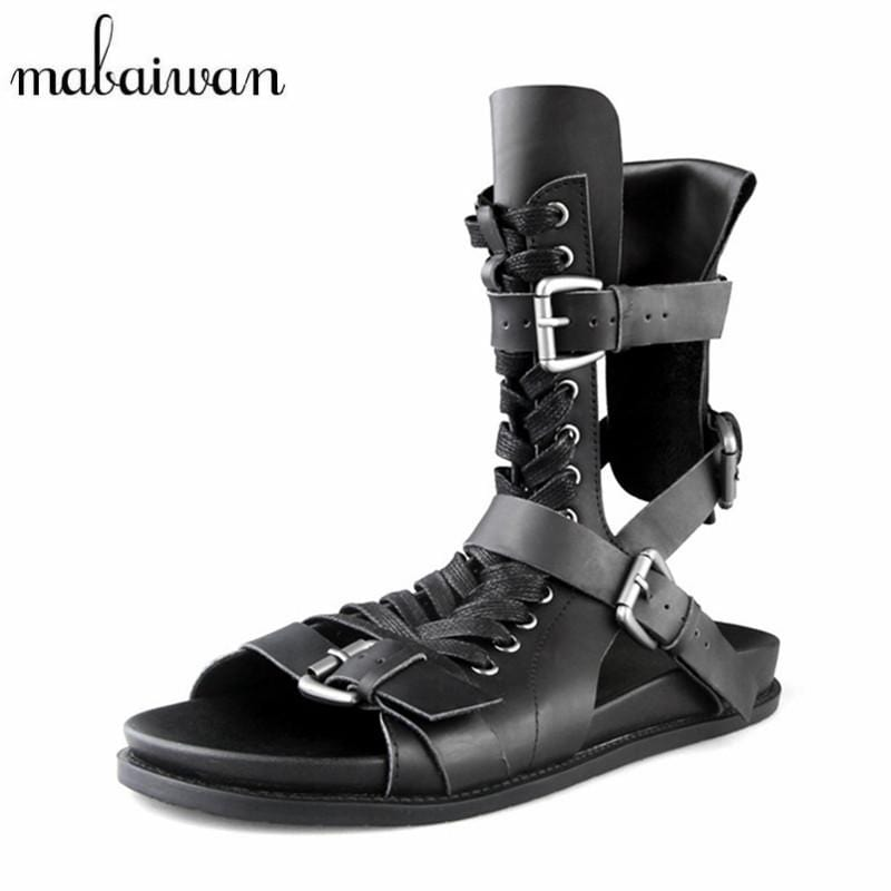 Mabaiwan Fashion Summer Sandals Men Genuine Leather Casual Flat Shoes Gladiator Sandals Black Mens Footwear Flats Beach Shoes