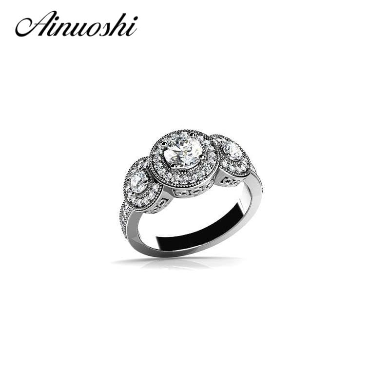 AINOUSHI Vintage Halo Rings Jewelry Women Silver Ring 925 Sterling Silver Elegant Wedding Engagement Bague for Lady Bijoux