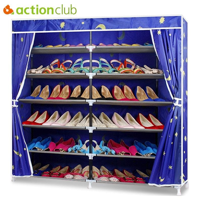 Actionclub Oxford Cloth Double Row Shoe Shelf DIY Shoe Organizer Shoe Rack Storage Shoe Cabinet Home Furniture Living Room