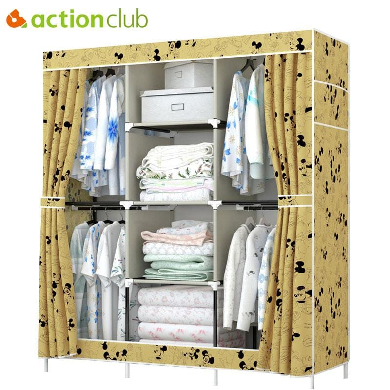 Actionclub Waterproof Oxford Cloth Wardrobe Closet Folding Fabric Clothes Toys Storage Multifunction Cabinet Bedroom Furniture