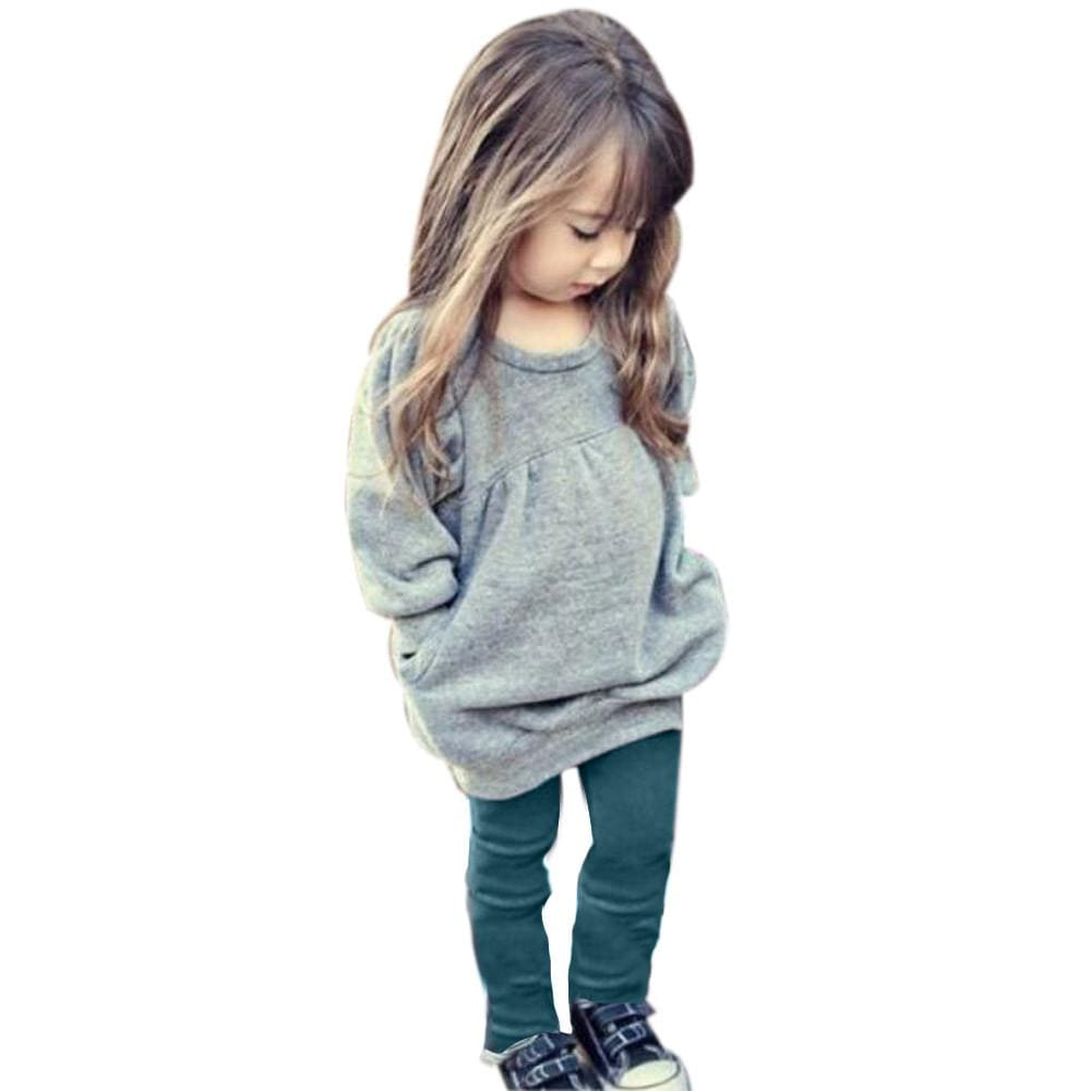 Toddler Kids Girls Outfit Clothes Warm Long Sleeve T-shirt +Long Pants 1Set - EM