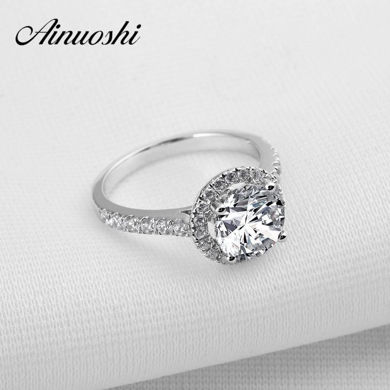 AINOUSHI 2 Carat Round Cut Sona Halo Ring for Women 925 Sterling Silver Wedding Rings Bijoux Bagues Anillos Engagement Rings - EM