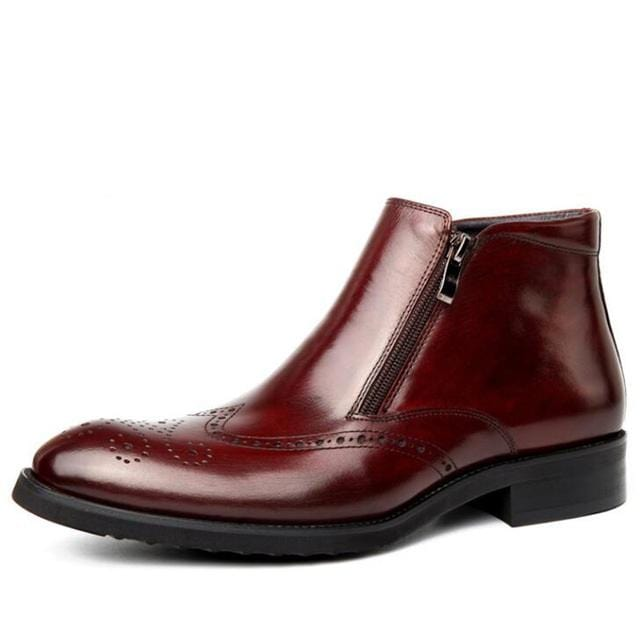 mens zipper dress boots burgundy genuine leather wingtip brogue shoes american work indian boots italian imported boots
