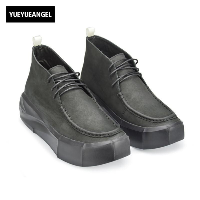 Vintage Japan Style Casual Shoes For Male Ankle Boots Men Lace Up Round Toe Winter New Fashion High Heel Genuine Leather Creeper