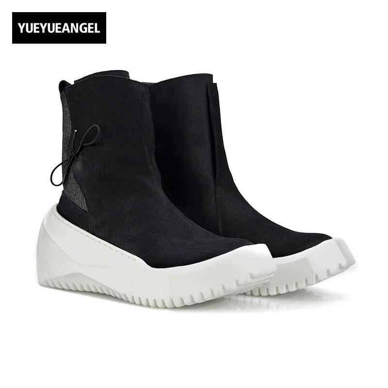 Punk Style Hot Sale Mens Creeper Round Toe Slip On Boots Male Shoes Winter High Help Footwear Vintage Plus Size 38-44 Black