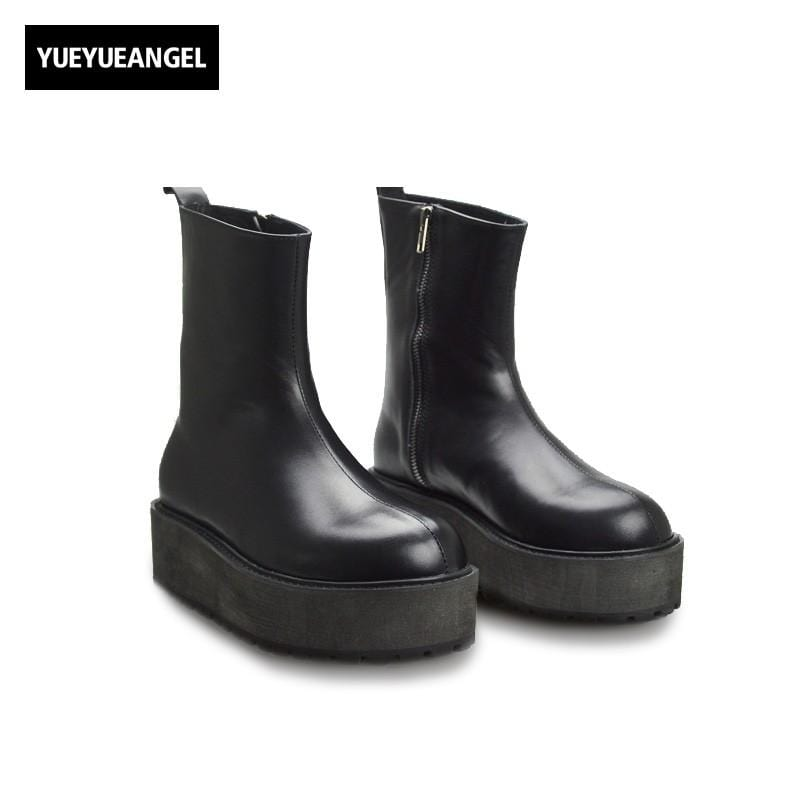 Autumn New Fashion Men Shoes Side Zipper Round Toe For Men Motorcycle Boots Punk Genuine Leather Mid Calf Boots Free Shipping
