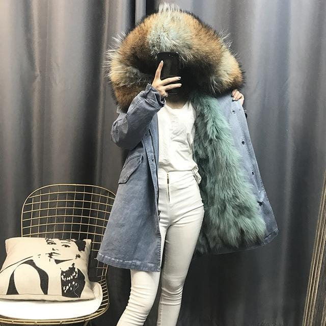 Winter Women's Fashion Loose Washed Denim Long Thick Warm Real Fox Lining Raccoon Fur Hooded Parkas Jackets Female Jeans Coats