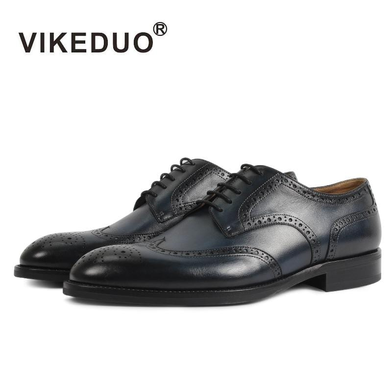 Vikeduo Handmade retro Designer Fashion Luxury Dance Wedding Party Brogue brand male shoe Genuine Leather Men Derby dress Shoes