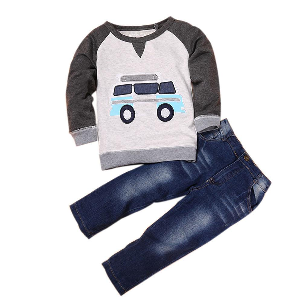 Toddler Boys Outfit Clothes Car Print T-shirt Tops+Long Jeans Trousers 1Set - EM