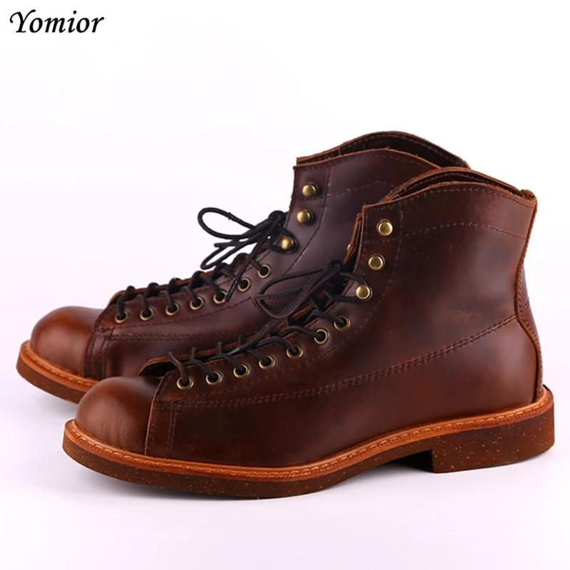 baaeaff380729 Handmade Genuine Leather Red Boots Men Large Size Casual British Wing  Autumn Winter Shoes High Quality Ankle Boots Winter Boots