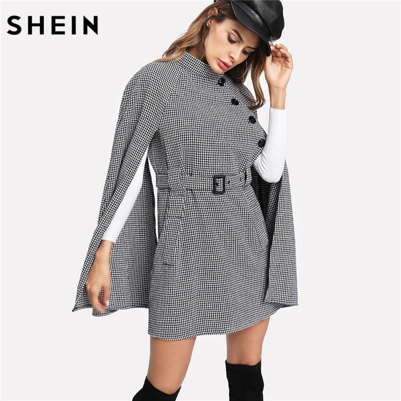 SHEIN Vintage Long Coat Women Black and White Fall Coat Cloak Sleeve Stand Collar Self Belted Houndstooth Cape Coat - EM