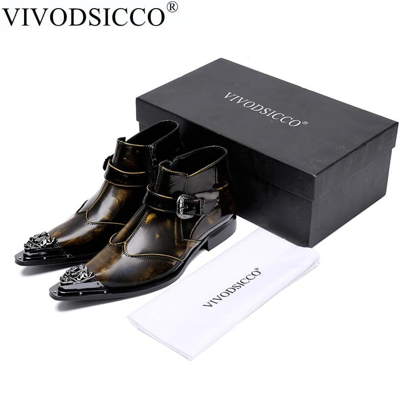 VIVODSICCO British Style Fashion Mens Pointed Toe Dress Boots Genuine Leather Ankle Boots