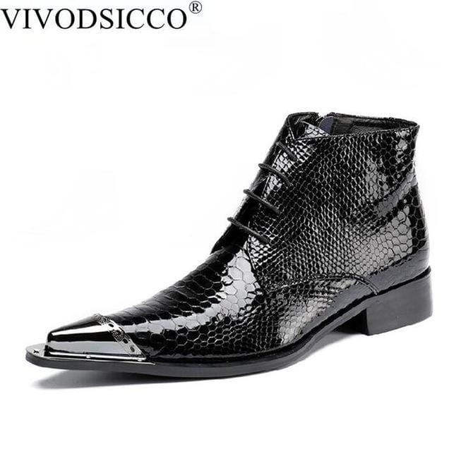 Wedding Dress Shoes.Vivodsicco British Style Fashion Mens Pointed Toe Dress Boots Genuine Leather Ankle Boots Cowboy Boots Wedding Dress Shoes