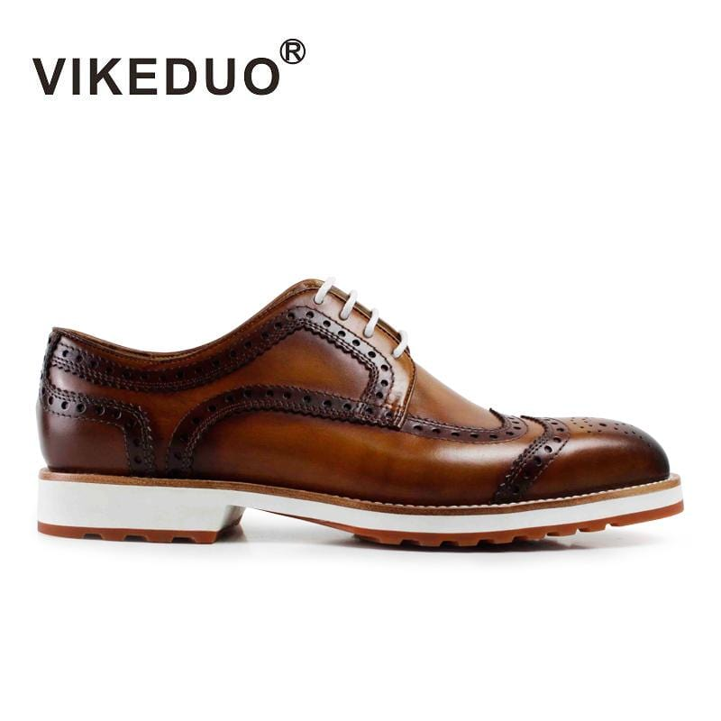 Vikeduo 2018 Handmade designer fashion Party wedding casual dance brand leisure male shoe Genuine Leather Men Derby Dress Shoes