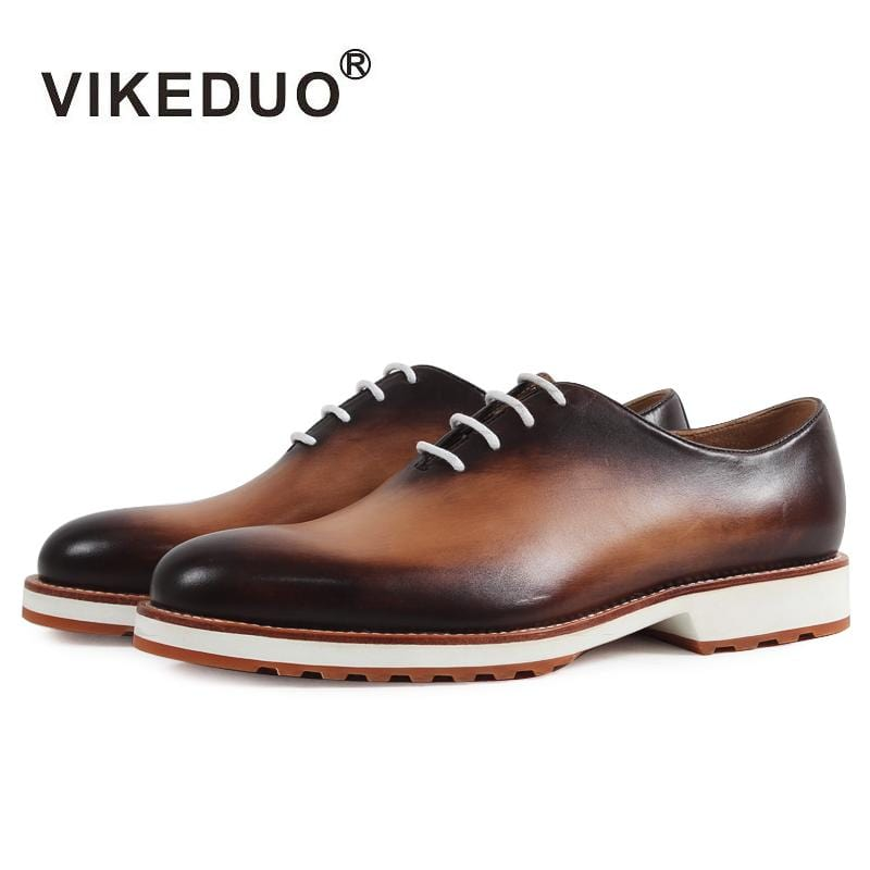 Vikeduo 2018 Handmade retro Designer Fashion luxury casual Party wedding dance male Dress shoe Genuine Leather Men Oxford Shoes