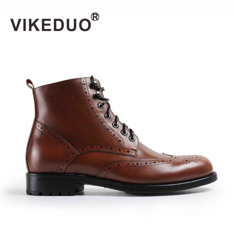 2018 Botas Hombre Handmade Luxury Fashion Office Dress Painted Genuine Cow Leather Original Design Men Casual Outdoor Boots