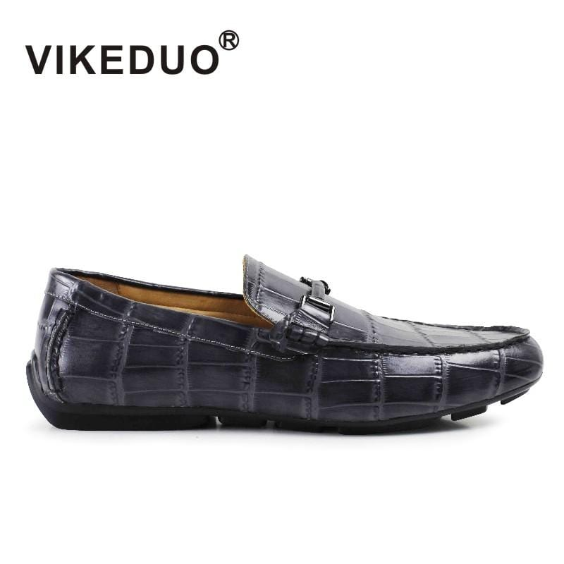 2018 Vikeduo Classic Black Mens Casual Shoes Handmade 100% Genuine Leather Luxury Comfortable Dress Fashion Original Design