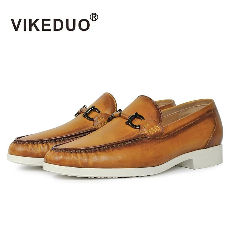 Vikeduo 2018 Designer retro Handmade Fashion Casual brand wedding Party dance male shoe genuine Leather Mens Loafer dress Shoes