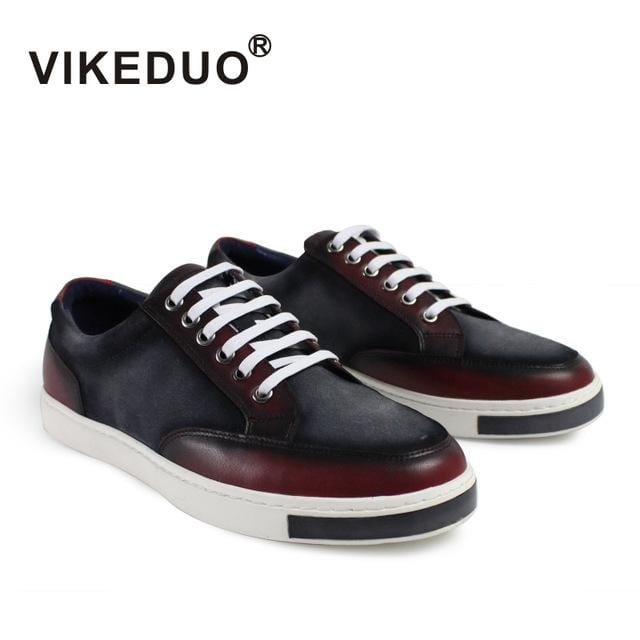 2018 Vikeduo Handmade Flat Men's Leisure Shoes Custom Comfortable Lace Up High Quality Fashion Luxury Casual Original Design