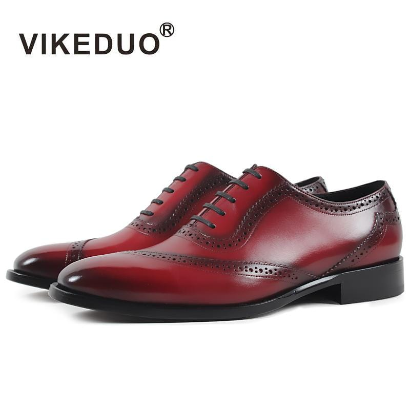 Vikeduo 2018 Handmade brand vintage retro Designer Wedding Party dance Casual male dress shoe Genuine Leather Mens Oxford Shoes