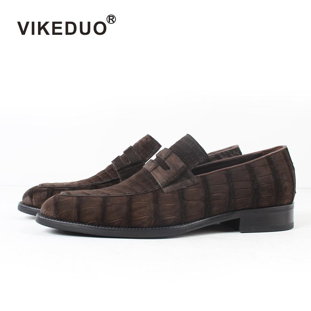 2018 Vikeduo Hot Men's Crocodile Skin Loafers Shoes Custom Genuine Leather Fashion Party wedding Dress Office Original Designer