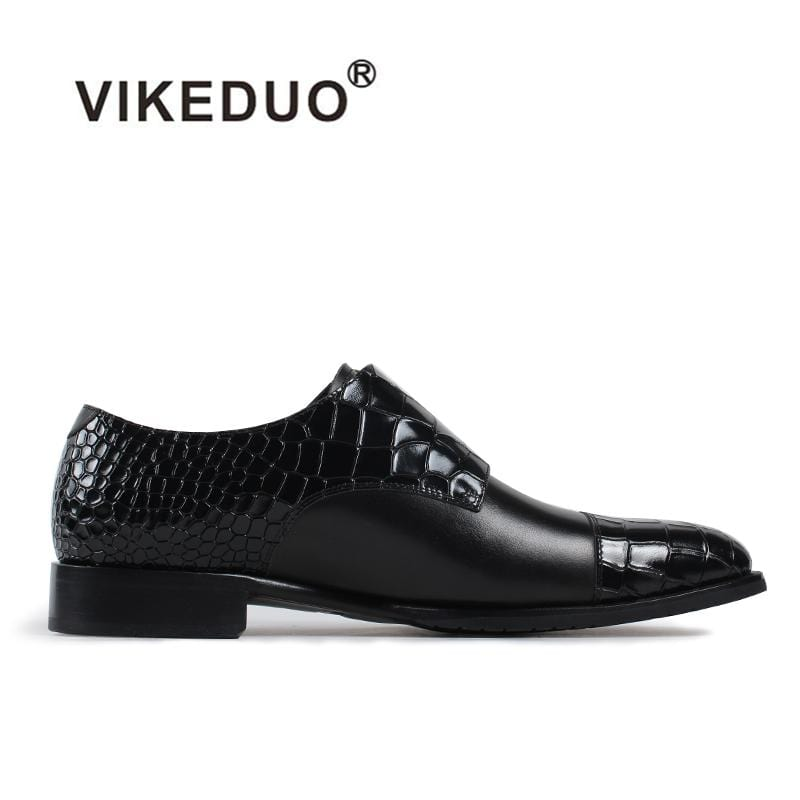 Vikeduo 2018 Handmade hot Designer Crocodile fashion Wedding Party brand casual male shoe Genuine Leather Mens Monk Dress Shoes
