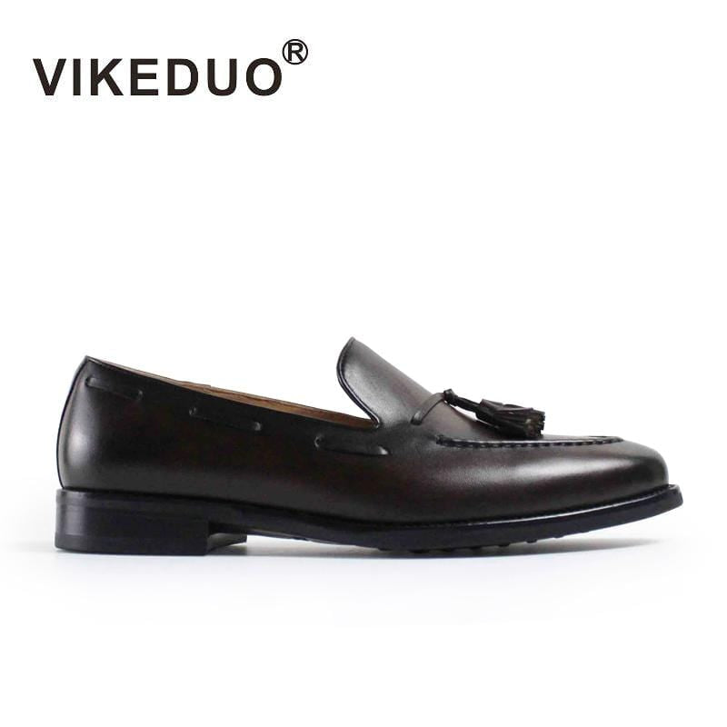 2018 Vikeduo Handmade Genuine Leather Shoe Fashion Casual Luxury Wedding Party Dress Shoes Original Design Men's Loafer Shoes