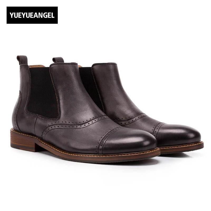 2018 Top Brand Mens Chelsea Boots Genuine Leather Ankle Boots Slip On Work Safety Comfort Footwear Vintage Male Casual Shoes